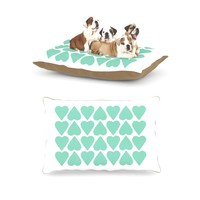 "Kess InHouse Project M ""Mint Up and Down Hearts"" Fleece Dog Bed, 30 by 40-Inch"