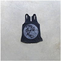 Womens tank top - full moon shirt on black - Nocturna by Blackbird Tees