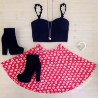 Daisy Hour Skater Skirt - Red