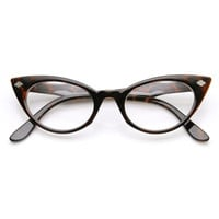 Womens 1960's Fashion Leaf Accent Cat Eye Clear Lens Glasses 9314