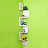 Corner Zig Zag Wall Shelf Finish: White