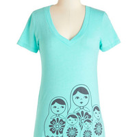 ModCloth Quirky Mid-length Short Sleeves Doll She Wrote Tee