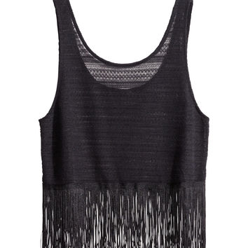 H M  Tank Top with Fringe -