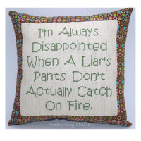 Funny Cross Stitch Pillow Cross Stitch Quote Brown by NeedleNosey