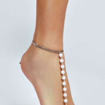 Liza Pearl And Chain Anklet
