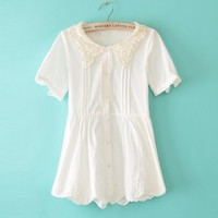 Japanese Babydoll Short Sleeve Off White Pleated Cotton Blouses