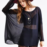 Silence + Noise Oversized Chiffon Top-