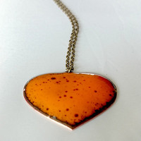 Orange Enamel Heart Necklace Orange Pendant Heart Pendant Heart Necklace Enamel Heart Enamel Copper Heart Necklace Valentine Gift