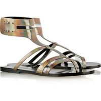 Sigerson Morrison Baker holographic patent-leather sandals – 50% at THE OUTNET.COM
