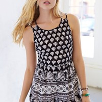 Ecote Boho-Print Lace-Up Back Romper- Black & White