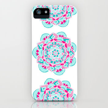 Hot Pink & Teal Mandala Flower iPhone & iPod Case by Tangerine-Tane