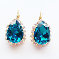 Blue teardrop Crystal Stud earrings - rhinestones - 24k gold plated