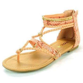 Womens Dressy Flats Snakeskin Sandals Bling Ankle Strap Shoes Heel Zipper Thongs