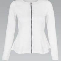 Zip Up Peplum Ponte Blazer