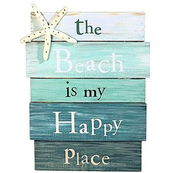 """""""The Beach is My Happy Place"""" Aquamarine Plankboard with Starfish Decorative Sign – 12-in…"""