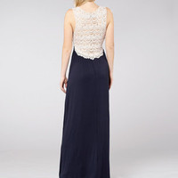 Crocheted Back Navy Maxi Dress