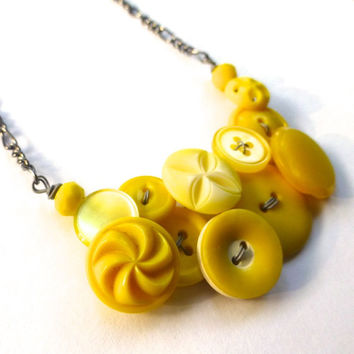 Bright Canary Yellow Spinner Vintage Button Necklace with gray wire