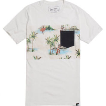 Rip Curl The Buttons Pocket T-Shirt  Mens Tee  Off White -