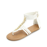 CHEVRON EMBELLISHED THONG GLADIATOR SANDALS