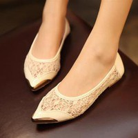 shallow mouth single openwork pattern and flat footwear shoes