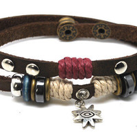 Surfer Hemp Leather Bracelet Wristband Mens by Leatherbracelet11