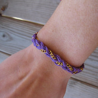 Purple Gold braided chain bracelet by houseofmarissanicole on Etsy