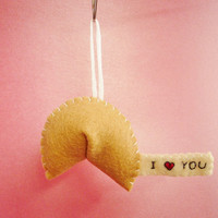 Fortune cookie ornament I heart you by TheOffbeatBear on Etsy
