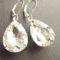 Vintage earrings in transparent clear jewel by Dewdropsdreams