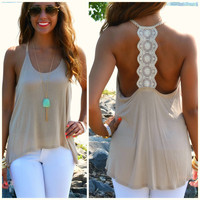 Delaire Khaki Lace Back Sleeveless Top