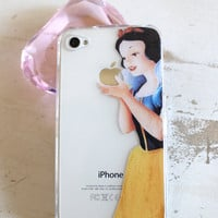 snow white iphone 4 4s clear case by Rosaliehandmade on Etsy