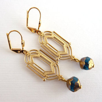 Art deco earrings long earrings vintage style by KittyBallistic
