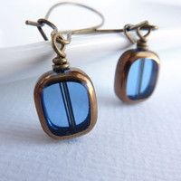 Blue Glass Earrings Beaded Earrings Long by KittyBallistic on Etsy