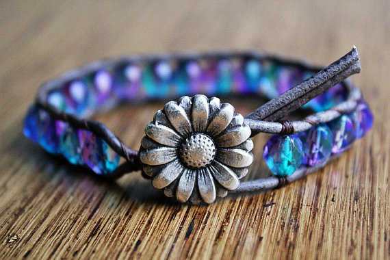Daisy Bracelet Leather Beaded Wrap Bracelet by theredparachute