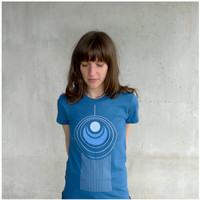 Womens tshirt  organic cotton  blue and turquoise by blackbirdtees