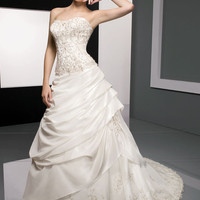 Beautiful White Princess Scoop Neckline Wedding Dress-SinoSpecial.com