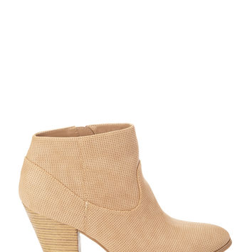 Perforated Faux Leather Booties