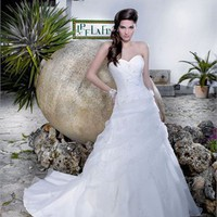 A line strapless court train tulle zipper white wedding dresses MSKY002