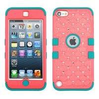 Thousand Eight(TM) iPod touch 5 (5th generation) Heavy Duty Defender Tuff Hybrid Hard Case With Kickstand Case + [FREE Touch Screen Stylus] (Diamond Baby Red/Tropical Teal)
