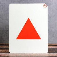 Vintage Shape Flash Card Red Triangle Large Size Flashcard White