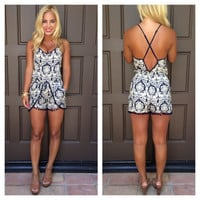 Baroque And I Don't Care Romper - NAVY