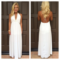 Peace Love And Daisies Halter Maxi Dress - WHITE