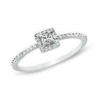 1/4 CT. T.W. Princess-Cut Diamond Framed Promise Ring in 10K White Gold