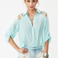 Laced Tail Blouse - Sky Blue in  Clothes at Nasty Gal