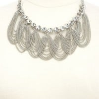 DRAPED CHAIN & RHINESTONE BIB NECKLACE