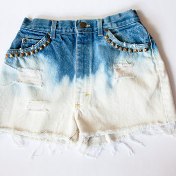 Vintage Lee High Waist Blue Dip Dyed Studded Bleached and Distressed Denim Cut Off Shorts