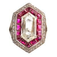 1STDIBS.COM Jewelry & Watches - Magnificent Deco Hexagon Diamond Ring - Jerome Heidenreich, Inc