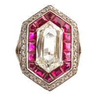 1STDIBS.COM Jewelry &amp; Watches - Magnificent Deco Hexagon Diamond Ring - Jerome Heidenreich, Inc