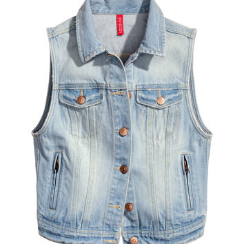 H&M - Denim Vest - Light denim blue - Ladies