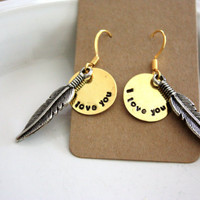 Secret Message Feather Earrings TM  by ForSuchATimeDesigns on Etsy