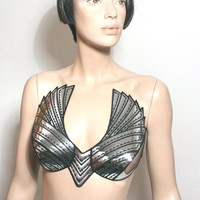 chrome fetish goth wing top , steampunk bustier , apocalyptic gothic costume , corset top